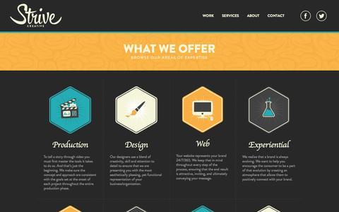 Screenshot of Services Page strivecreative.com - Strive Creative - Services - captured Nov. 5, 2014