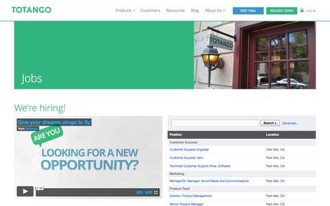 Screenshot of Jobs Page totango.com - TotangoFlow - new Jobs - captured Sept. 17, 2014