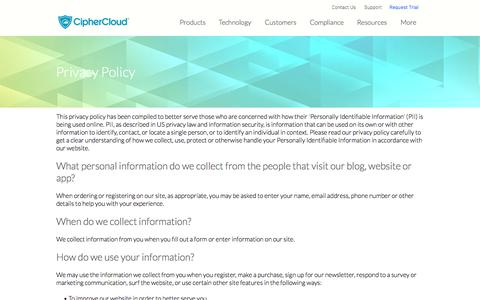 CipherCloud | CASB | Cloud Security | Privacy Policy