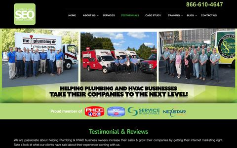 Screenshot of Testimonials Page plumberseo.net - Testimonials & Reviews - Plumbing & HVAC SEO - captured July 14, 2016