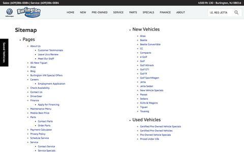Screenshot of Site Map Page burlingtonvw.com - Sitemap | Burlington Volkswagen serving Marlton - captured Oct. 11, 2017