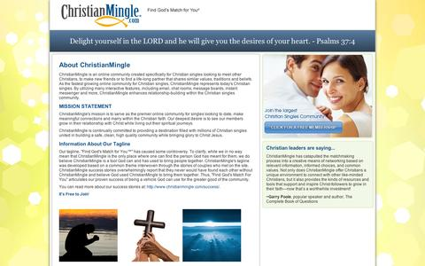 Screenshot of About Page christianmingle.com - About ChristianMingle - We bring Christian singles together - captured Sept. 11, 2014