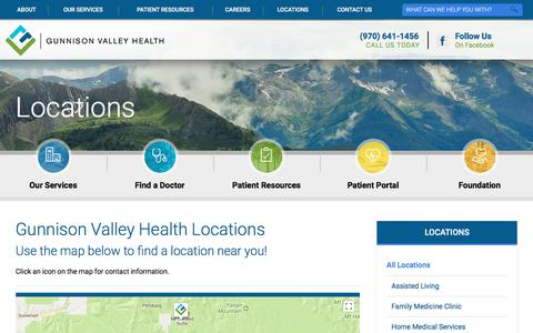 Screenshot of Locations Page gunnisonvalleyhealth.org - Our Locations | Hospital in CO - captured Sept. 23, 2017