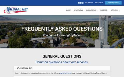Screenshot of FAQ Page theglobal.net - FAQ – Global Net - captured Sept. 28, 2018