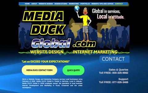 Screenshot of Contact Page mediaduckglobal.com - CONTACT US - Media DUCK Global - captured Oct. 27, 2014