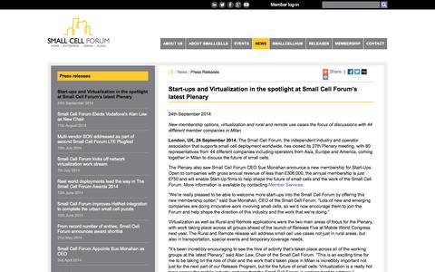 Screenshot of Press Page smallcellforum.org - Small Cell Forum  — Press releases - captured Oct. 28, 2014