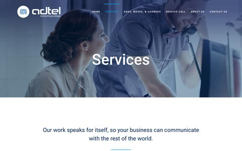 Screenshot of Services Page adtelsolutions.com - Adtel | NEC Phone Systems - NEC VOIP Phone Systems - Toshiba Phone Systems - Umobility Virtual Office Phone - Office Networking - Business Phone Service | San Antonio - captured July 28, 2018