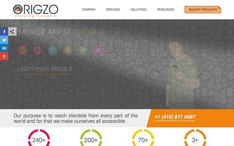 Screenshot of Home Page origzo.com - Mobile Application Design and Development Company – Origzo - captured June 17, 2015