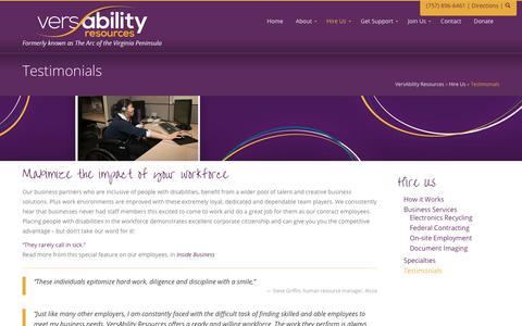 Screenshot of Testimonials Page versability.org - Testimonials » VersAbility Resources - captured Oct. 21, 2017