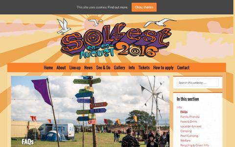 Screenshot of FAQ Page solfest.org.uk - FAQs - Solfest - captured Aug. 14, 2016