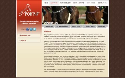 Screenshot of About Page ponyuptechnologies.com - About Us «  PonyUp Technologies - captured Oct. 27, 2014