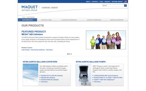 Screenshot of Products Page maquet.com - MAQUET Cardiac Assist - Our Products - captured Sept. 25, 2014