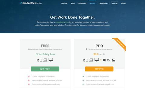 Screenshot of Pricing Page producteev.com - Free Task Management | Producteev by Jive - captured Oct. 30, 2014