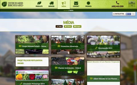 Screenshot of Press Page centredejardinbrossard.com - Média - CDJB - captured July 19, 2015