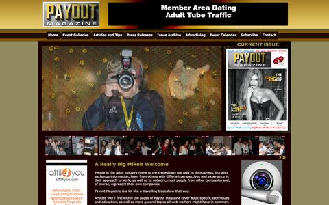 Screenshot of Home Page payoutmag.com - Payout Adult Industry Magazine - captured March 6, 2016