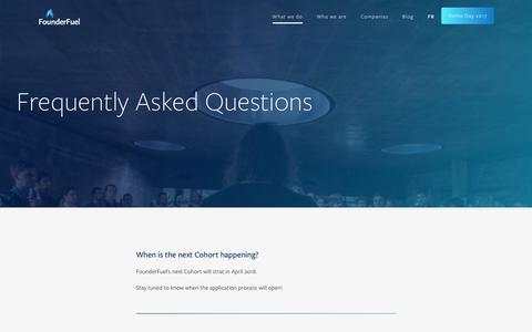 Screenshot of FAQ Page founderfuel.com - FounderFuel |   FAQ - captured Oct. 14, 2017