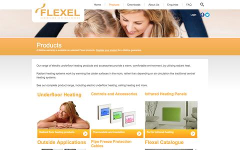 Screenshot of Products Page flexelinternational.com - Products | Underfloor Heating Systems | Electric Underfloor Heating | Flexel - captured Nov. 25, 2016