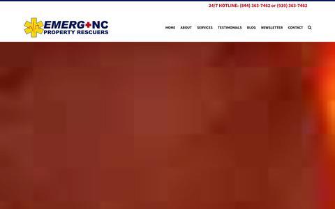 Screenshot of Home Page emerg-nc.com - Property Damage Restoration -Emerg+NC- Raleigh, Cary - captured Jan. 23, 2016