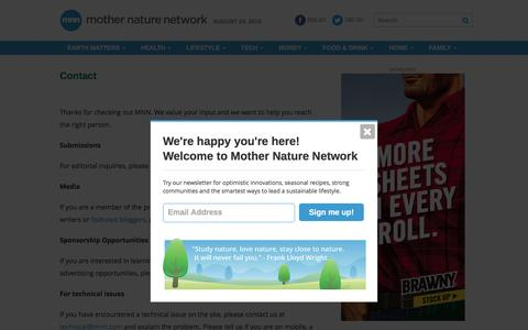 Screenshot of Contact Page mnn.com - Contact | MNN - Mother Nature Network - captured Aug. 24, 2016