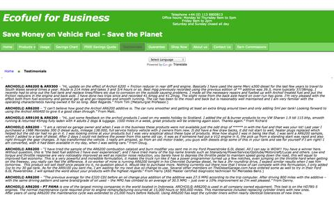 Screenshot of Testimonials Page ecofuelforbusiness.co.uk - Ecofuel for Business - captured Oct. 1, 2014