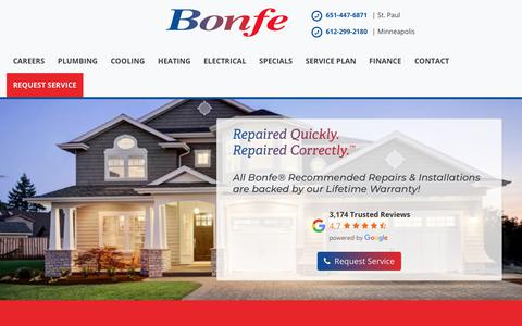 Screenshot of Home Page bonfe.com - Bonfe : Minneapolis St. Paul's Best Plumbing, Heating, Cooling, Electrical - captured Dec. 8, 2019