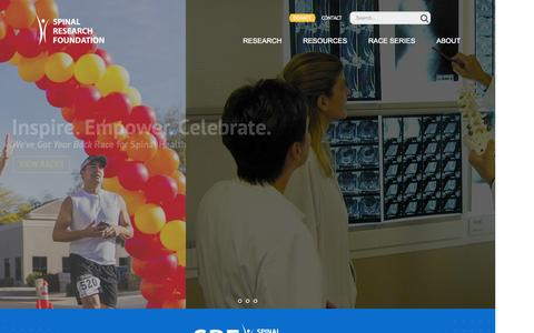 Screenshot of Home Page spinerf.org - Spinal Research Foundation - captured Nov. 11, 2015
