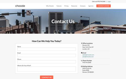 """Screenshot of Contact Page choozle.com - Contact Us 