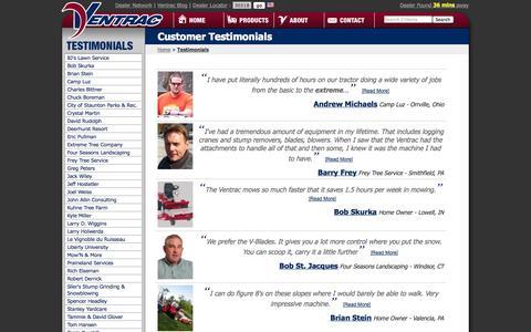 Screenshot of Testimonials Page ventrac.com - Ventrac - Customer Testimonials - captured Sept. 23, 2014