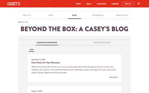 Screenshot of Blog caseys.com - Beyond the Box: a Casey's Blog | Casey's General Store - captured May 1, 2019