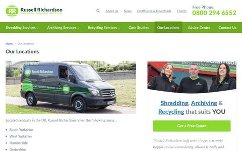 Screenshot of Locations Page russellrichardson.co.uk - Our UK Shredding Locations | Russell Richardson - captured Oct. 18, 2018