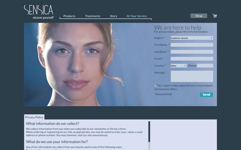 Screenshot of Privacy Page mysensica.com - Customer Service - Contact Form & Newsletter Signup - Sensica - captured Oct. 3, 2014