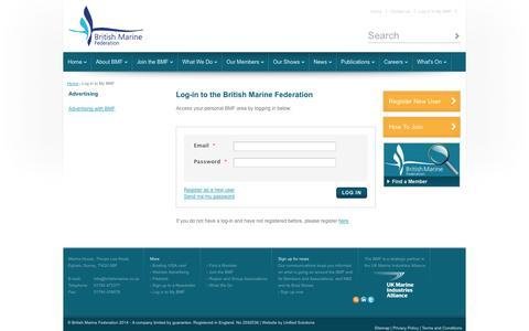Screenshot of Login Page britishmarine.co.uk - Log-in to the British Marine Federation - captured Nov. 3, 2014