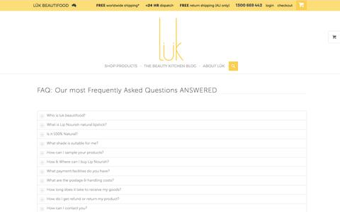 Screenshot of FAQ Page lukbeautifood.com - FAQ on Natural lipstick by luk beautifood - captured Sept. 20, 2017