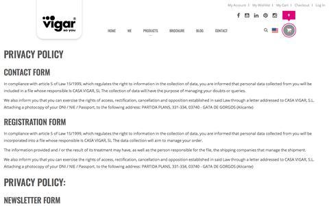 Screenshot of Privacy Page vigar.com - Privacy - captured Feb. 1, 2018