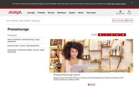 Screenshot of Press Page avaya.com - Presselounge - Pressemitteilungen - Avaya in der Presse - Avaya D - captured May 26, 2016