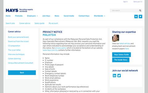 Privacy policy  | Hays