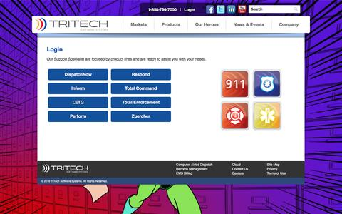 Screenshot of Login Page tritech.com - Login - TriTech Software Systems | 911, Computer Aided Dispatch, Police RMS & Public Safety Software - captured Jan. 11, 2016