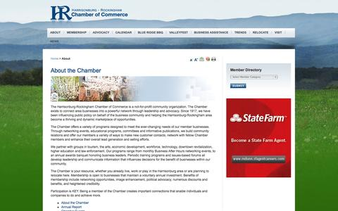 Screenshot of About Page hrchamber.org - Harrisonburg-Rockingham Chamber of Commerce - About the Chamber - captured Oct. 1, 2014