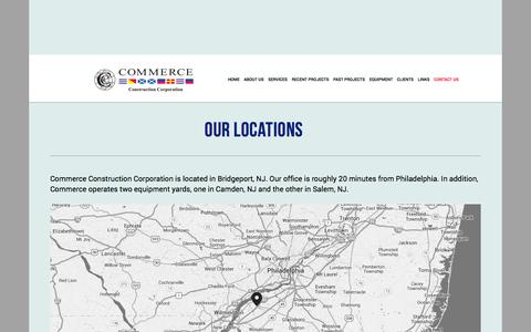 Screenshot of Contact Page commerceconstruction.com - Locations — Commerce Construction - captured Nov. 2, 2014