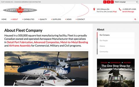 Screenshot of About Page fleet.ca - About Fleet | Canadian Aerospace Manufacturer | Fleet Canada - captured Nov. 25, 2016