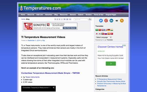 Screenshot of Blog temperatures.com - Blog | Temperatures.com | About Temperature & Moisture Sensors | Uses | Links to Resources & Vendors - captured Oct. 7, 2014