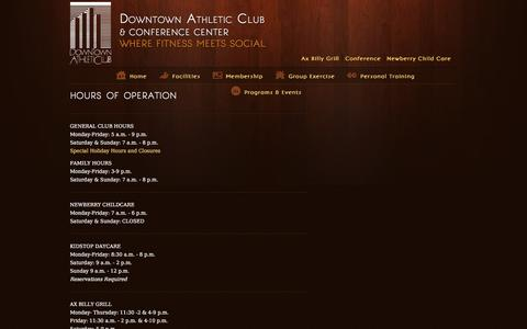 Screenshot of Hours Page downtownac.net - hours of operation | Downtown Athletic Club  & Conference Center - captured June 5, 2016