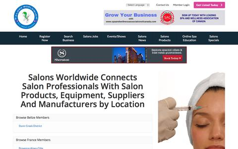 Screenshot of Locations Page salonsworldwide.com - Find Salons Worldwide Connects Salon Professionals With Salon Products, Equipment, Suppliers And Manufacturers by Location - Salons Worldwide.com is a Collection of Salons, Hair Professionals, Stylists & Technicians - captured Feb. 2, 2018