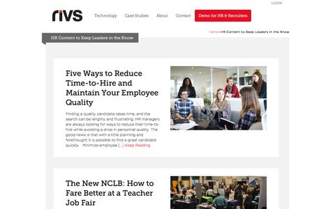 Screenshot of Blog rivs.com - HR Content to Keep Leaders in the Know - RIVS Video Interview Technology - captured July 31, 2018