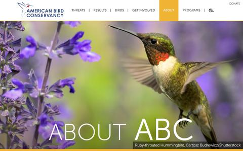Screenshot of About Page abcbirds.org - About | American Bird Conservancy - captured Jan. 17, 2016