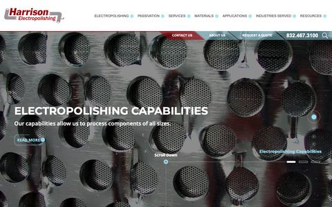Screenshot of Home Page harrisonep.com - Electropolishing - Passivation & Mechanical Polishing Services - Harrison Electropolishing - captured Sept. 27, 2018