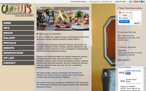 Screenshot of Menu Page canellis.ca - Canelli's Italian Eatery | 252 Queen St. E., Brampton, ON | (905) 457-0099 - captured Oct. 1, 2014