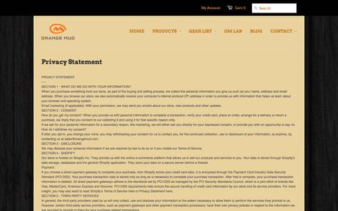 Screenshot of Privacy Page orangemud.com - Orange Mud Privacy Policy, Return Policy and Terms of Service | Orange Mud for no bounce hydration - captured Oct. 9, 2014