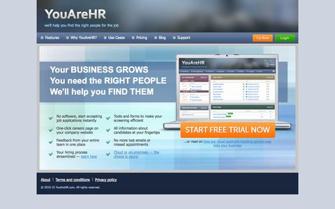 Screenshot of Home Page youarehr.com - Human Resources Software - HR System - Easy To Use Applicant Tracking System - YouAreHR.com - captured Jan. 26, 2015
