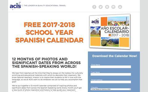 Screenshot of Landing Page acis.com - 2017-2018 Spanish Cultural Calendar - captured Sept. 19, 2018
